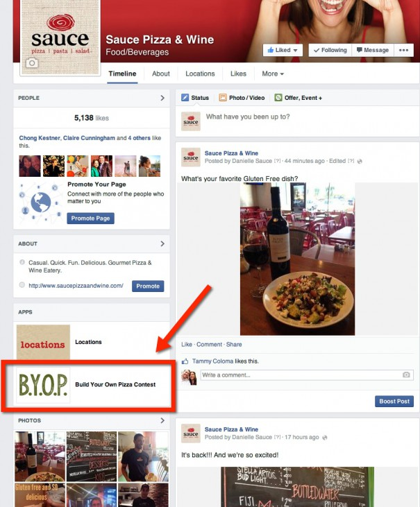 Locate the Build Your Own Pizza link under the apps section of our Facebook page