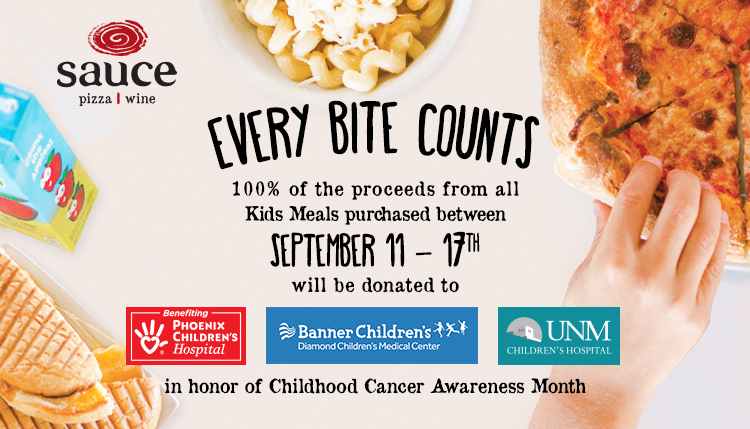 In honor of Childhood Cancer Awareness Month, 100% of the proceeds form all Kids Meals purchased between September 11th and 17th will be donated to local children
